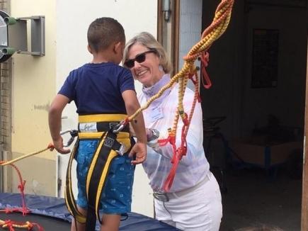 Marianne, unsere Präsidentin, im Einsatz am Salto-Trapez